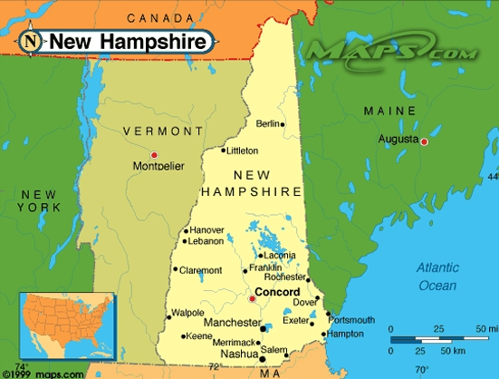 New Hampshire - New hampshire on the us map
